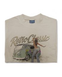 Camper and Hippie Bus Girl Tee - Sand