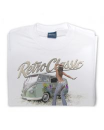 Camper and Hippie Bus Girl Mens T-shirt