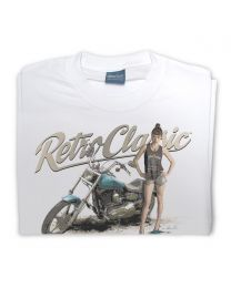 Harley styled Motorcycle and model FreyaaRay Tee - White
