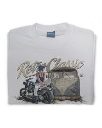 Rat Classics  aircooled camper and custom motorcycle Tee - Grey