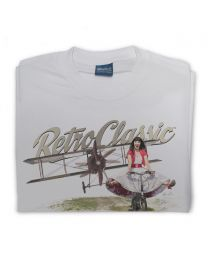 Old Biplane and Scarlet Fatale on Push Bike Mens T-shirt