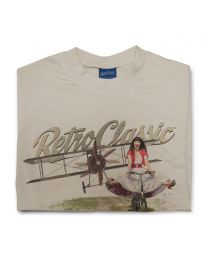 Old Biplane and Scarlet Fatale on Push Bike Tee - Sand