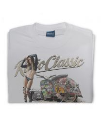 The Rat Crew Simson Motorcycle and Model Samantha Ronan Tee - Grey