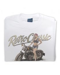 LaRoss Pin-up & Motorbike Tee - White