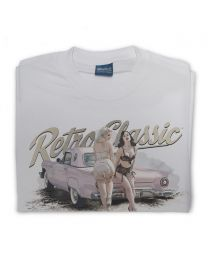 Pink Thunderbird and Vintage Underwear Pin-ups Tee - Grey