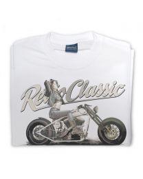 Dee Macias and her Custom Purple Bobber Motorbike Tee - Sand
