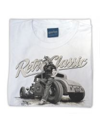 Ford Model A Hot Rod & Rina Bambina B/W Ladies T-Shirt