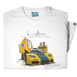 Mens '1995 France Endurance' Official Derek Bell Classic Race Car T-Shirt