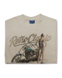 Harley styled Motorcycle and model FreyaaRay Mens T-shirt