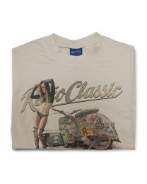 The Rat Crew Simson Motorcycle and Model Samantha Ronan Mens T-shirt