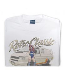 Phil Vaughan's T4 Camper and retro Roller Skate Pin-Up Tee - White