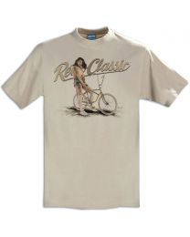 Vintage Muscle Bike and Model Mia Mens T-Shirt