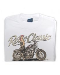 LaRoss Pin-up and Motorbike Tee - White
