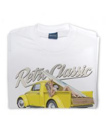 Bryn Jones Yellow Bug Truck and Surf Chick Victoria Summers Tee - White
