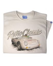 Porsche 550 Spyder Mens Racing Classic Sports Car Tee - Grey
