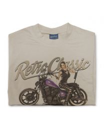 Dee Macias and her Custom Purple Bobber Motorbike Tee - Sand