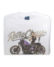 Dee Macias and her Custom Purple Bobber Motorbike Mens T-Shirt