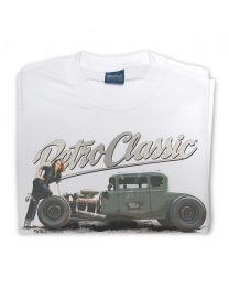 Ford Model A Hot Rod & Rina Bambina Tee - White