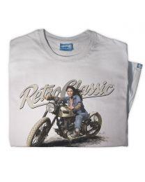 Custom Triumph Board Track Racer Motorcycle & Meagan Jean Mens T-shirt