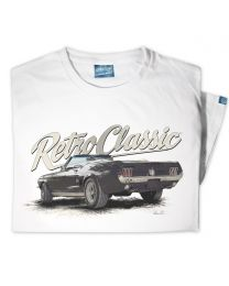 Classic Ford Mustang Convertible Sports Car Tee - White