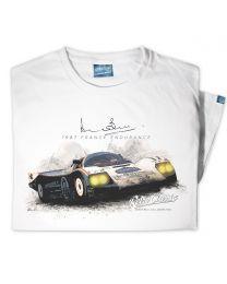 Mens '1987 France Endurance' Official Derek Bell Classic Race Car T-Shirt