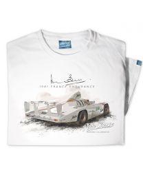 Woman's '1981 France Endurance' Official Derek Bell Classic Race Car T-Shirt