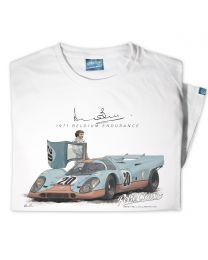 Woman's '1971 Belgium Endurance' Official Derek Bell Classic Race Car T-Shirt