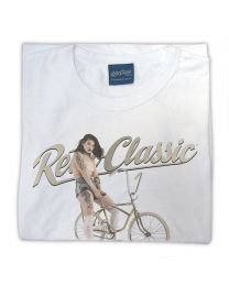 Vintage Muscle Bike and Model Mia Womens Tee - White